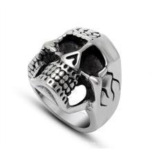 Мужская нержавеющей стали кольцо серебро камень черный череп кости