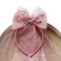 Tiara Veil Headband Crown For Kids Girl Children's Party Festival Hair Accessories Princess Sweet Hairband Korean Handmade Gift