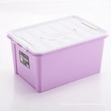 Boîte en conteneur de stockage en plastique colorée avec poignée (SLSN012)