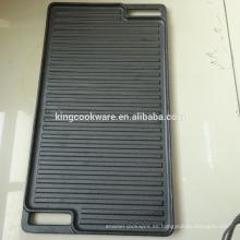Plancha de barbacoa doble reversible de hierro fundido de alta calidad