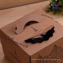 caixa de empacotamento de alimento do bolo de papel de kraft do logotipo personalizado