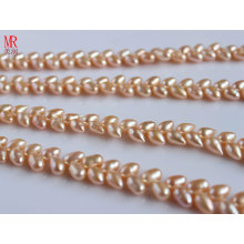 6-7mm AAA Rice Freshwater Pearl Strand, Wheat Design, Pink