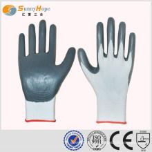 SUNNYHOPE 13gauge guantes de nylon gris nitrile recubiertos