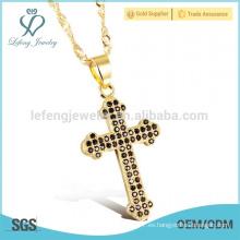 Collar de la cruz de las mujeres, oro fino collares cruzados laterales de la joyería