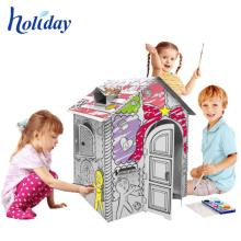 Kundengebundenes Malerei-Baby, das Pappspielzeug-Haus spielt