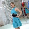 2017 diseños clásicos de la moda azul corto vestido de noche al por mayor