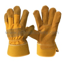 Full Palm Yellow Cow Split Leather Work Glove with Rubberized Cuff
