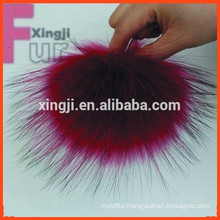 Top quality dyed red color raccoon fur balls for hat/garment