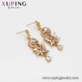 94698 Xuping hot sale luxury women accessories pave crystal simple gold drop earrings