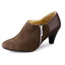 Zapatos de mujer de tacón grueso con cremallera sin cuello