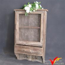 Антикварные декоративные сетчатые двери Деревянный настенный шкаф с крючками