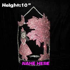 10in Height Plam Tree Pageant Crowns With Dancing Girl And Moon