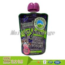 Los niños plásticos recargables reutilizables del diseño personalizado exprimen la bolsa hecha en casa del yogur del canalón de empaquetado de alimentos con la boca