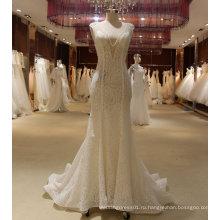 Русалка Ручной Бисером V Шеи, Открытая Спина Свадебное Платье