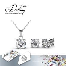 Destino joyería cristal de caracol de cristal de Swarovski conjunto de colgante y pendientes
