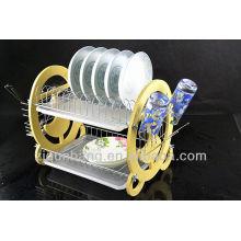 Edelstahl-Schüssel-Rack aus Edelstahl, Doppelschüssel-Rack, Besteck-Stauraum, Ablaufgitter