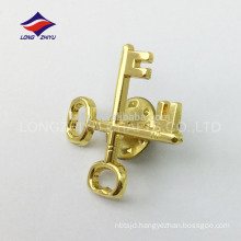 Gold plating metal two keys cross custom badge