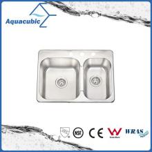 Évier modulable à double bol à la mode (ACS6952M)