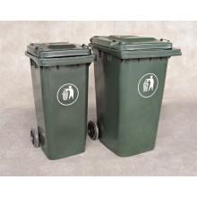 Alta qualidade exterior plástico caixote do lixo com rodas pó Bin