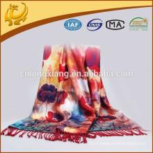 Nouvelle couleur colorée Pashmina Fleur des femmes nouvelle écharpe Rose imprimé châle