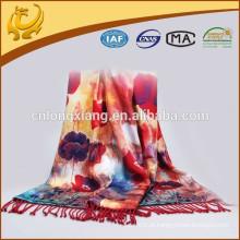 Novo colorido duplo lado Pashmina Flor feminina novo cachecol Rose Shail impresso