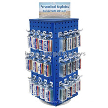 Presentes Loja de revenda Custom Blue Color 4-Way Pegboard Metal Counter Top Spinner Keychain Display