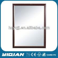 Espejo de madera de marco con el estante de cristal templado Espejo de plástico de rectángulo de baño Espejo de baño de madera del capítulo de la venta caliente