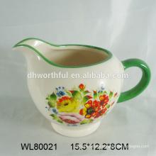 Jarra de leche decorativa de cerámica de calidad superior con calcomanía completa