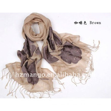 100% linen embroidered fashion scarf