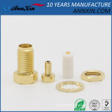 RP-SMA female plug center nut bulkhead straight RF Connector For 1.13 1.37 RG178U RG316U cable