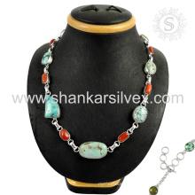 Magnífico coral e turquesa gemstone colar de prata atacado 925 jóias de prata esterlina jóias indianas