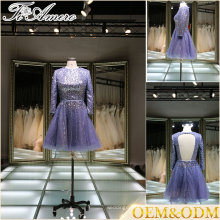 guangzhou women custom made plus size long sleeve purple bridesmaid dresses