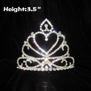 Tiaras y coronas en forma de corazón de cristal de 3.5 pulgadas