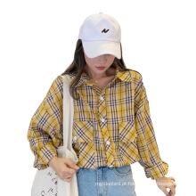 Camisa xadrez fina amarela pequena combinada outono 2020