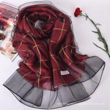 Nueva primavera y el verano plaid doble imitación bufanda de seda chal damas 70% pashmina 30% bufanda de seda