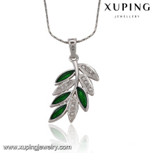 32602 Fashion Elegant Rhinestone CZ Rhodium Imitation Jewelry Chain Pendant with Leaf Design