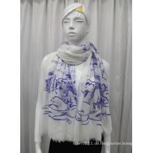 Lady Landschaft gedruckt Baumwolle Voile Fashion Schal (YKY1081)
