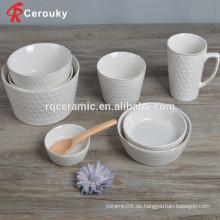 Stapelbare geprägte Kochgeschirr-Sets Keramik-Schüssel