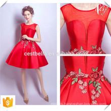 Shinny Tejido V Escote Chic Champagne corto y Rojo Navidad Party Dresses 2016 Made in China