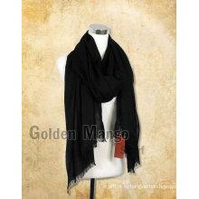 Женская мода Черный цвет Большой шерстяной шарф