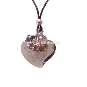 Sundysh Bling handgemachte lange Mode rauchige facettierte Herz Kristall Halskette für Frau