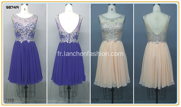 Robe Cocktail manches en mousseline de soie