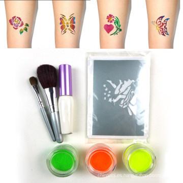 Kit de tatuaje temporal no tóxico impermeable brillo del cuerpo