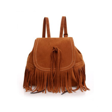 Best Selling Ladies Tassel Backpack PU Sude Fringe Daypack Wzx1138