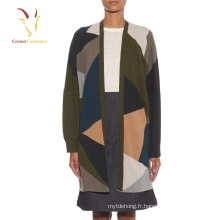 Intarsia Surdimensionné Tricot Cardigan Pulls pour les femmes