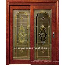 Porte coulissante en verre en bois