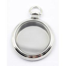 Alta qualidade pingente de vidro de prata enfrentado Locket