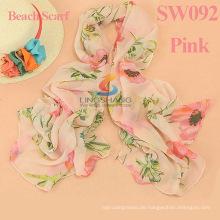 2015 neue Frauenart und weise printe Blumenqualitäts Chiffon- Ebene Schale lange Verpackung hijab moslemische Schals