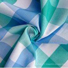 Tissu à coiffe plaid teinté en fibre de coton 100% (QF13-0217)