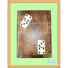 Doble 6 domino negro claro alto con estantería de cuero